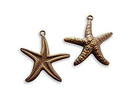 Vintaj Natural Brass Starfish Double Sided Charm 20x23mm