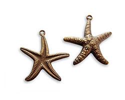 Vintaj Natural Brass Starfish Double Sided Charm 20x23mm