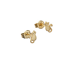 Amoracast 14kt Gold (plated) Sterling Silver Kitty Post Earring w/ Back 4.5x7mm