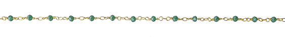 Leaf Green Crystal 4mm Gold (plated) Bead Chain