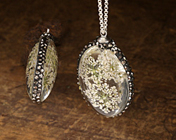 Glass Orb Oval w/ Ivory Lacy Flowers and Pave Crystals 25x50mm