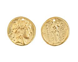 Greek Gold (plated) Alexander Coin Pendant 26x27mm