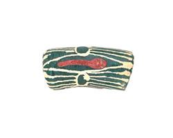 African Handpainted Print in Cream/Red on Evergreen Powder Glass (Krobo) Bead 23-28x12-13mm