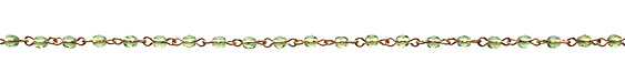 Czech Fire Polished Olivine Faceted Oval Gold (plated) Bead Chain