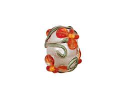 Grace Lampwork Vermilion Flower Rondelle 9x14mm