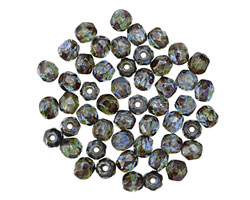 Czech Fire Polished Glass Sapphire Picasso Round 4mm