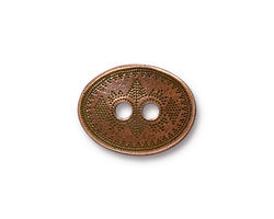 TierraCast Antique Copper (plated) Tribal Button 19x15mm
