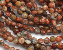 Crazy Lace Agate (red) Puff Coin 8mm