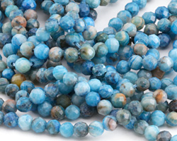 Larimar Blue Crazy Lace Agate Faceted Round 4mm