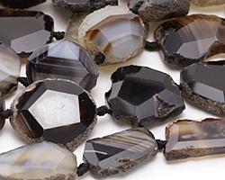 Black Agate Natural Edge Freeform Faceted Slab 23-33x24-30mm