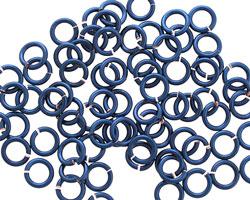 Blue Enameled Copper Round Jump Ring 5mm, 18 gauge