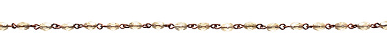 Czech Fire Polished Champagne Faceted Oval Antique Copper (plated) Bead Chain