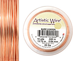 Artistic Wire Bare Copper 22 gauge, 15 yards