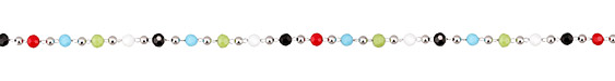 Opaque Jewel Tone Crystal & Imitation Rhodium (plated) Rounds Bead Chain