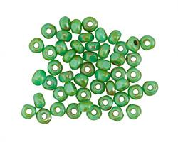 Czech Glass Grass Green Luster Picasso Trica Beads 3x4mm