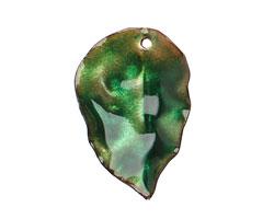 C-Koop Enameled Metal Peacock Green/Clear Round Leaf 19-21x30-33mm
