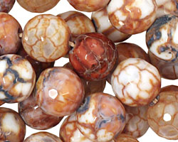 Rusty Blue Fire Agate Faceted Round 12mm