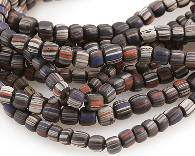 African Trade Beads Blue, Gray & Red Striped Glass 4-6x5-7mm