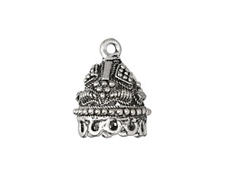 Antique Silver (plated) Embroidered Tassel Cap 17x22mm