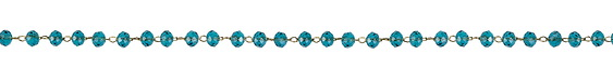 Gold (plated) Stainless Steel Capri Blue Crystal 4mm Bead Chain