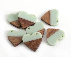 Walnut Wood & Sweet Mint Resin Small Heart Focal 25mm