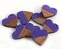 Walnut Wood & Deep Periwinkle Resin Small Heart Focal 25mm