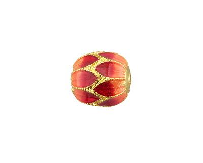 Cloisonné Red & Orange w/ Gold Finish Flower Barrel Bead 13.5x12mm