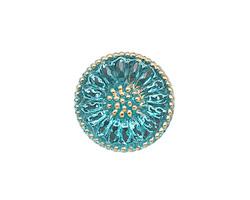 Czech Glass Azure Daisy Button 18mm