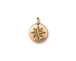 TierraCast Antique Gold (plated) Mini North Star Charm