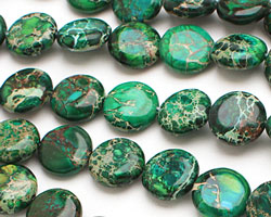 Dark Emerald Impression Jasper Puff Coin 14mm