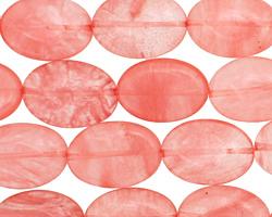 Cherry Quartz Flat Oval 18x13mm