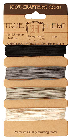Shades of Onyx Hemp Twine 10 lb, 42 ft x 4 colors