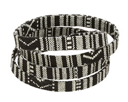 Black & White Flat Woven Cotton Cord 10mm