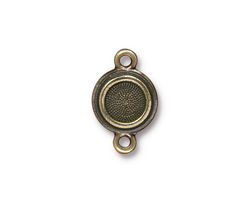 TierraCast Antique Brass (plated) Stepped Bezel Link 12x19mm
