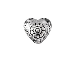 Antique Silver Finish Folk Puff Heart Bead 16mm