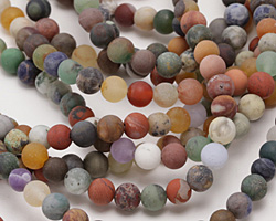 Matte Multi Gemstone (Sodalite, Tiger Eye, Red Jasper, Aventurine) Round 6mm