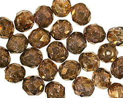 Czech Fire Polished Glass Luster Transparent Gold/Smoky Topaz Round 8mm