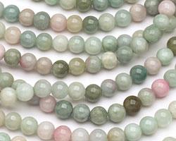 Burma Jade w/ Pink Round 6mm