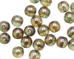 Czech Glass Luster Transparent Green Round 8mm