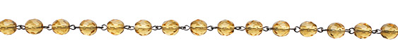 Czech Fire Polished Light Amber Faceted Round Silver (plated) Bead Chain
