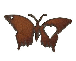 The Lipstick Ranch Rusted Iron Love Butterfly Pendant 37x70mm