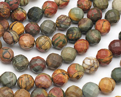 Red Creek Jasper Faceted Round 12mm