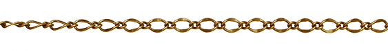 Antique Brass (plated) Long & Short Half Flat Curb Chain