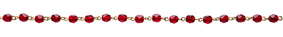Czech Fire Polished Garnet Faceted Round Gold (plated) Bead Chain