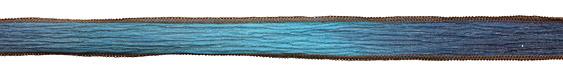 "Blue Me Away Again w/ Brown Edges Hand Dyed 100% Silk Ribbon 1/2"""