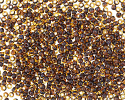 TOHO Frosted Transparent Light Topaz Picasso Hybrid Round 11/0 Seed Bead