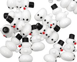Czech Glass White Snowman 27x17mm