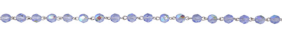 Czech Fire Polished 6mm Light Sapphire AB Faceted Round Silver (plated) Bead Chain