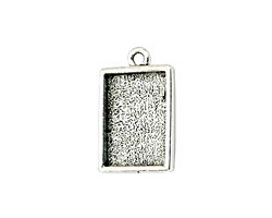 Nunn Design Antique Silver (plated) Mini Rectangle Frame Charm 18x12mm