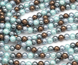 Muddy Spring Mix Shell Pearl Round 4mm